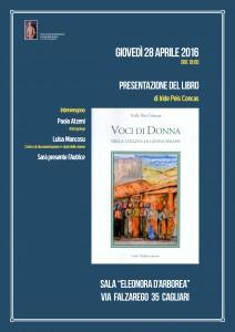 """Giovedì 28 aprile ore 18 presentazione del libro """"Voci di donna Nella collina di Genna Serapis"""" di Iride Peis Concas"""